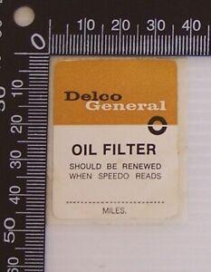 GENUINE VINTAGE HOLDEN GM DELCO GENERAL OIL FILTER SERVICE WINDSCREEN STICKER