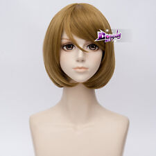 "16"" Short Wavy Blonde Bob Hair Anime Halloween Cosplay Full Wig Heat Resistant"