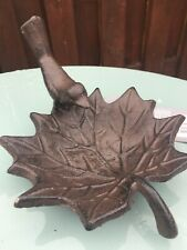 Cast Iron Rustic Leaf Bird Bath Feeder