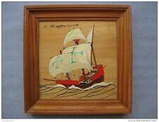 petit tableau en bois avec peinture d'une Caravelle du XVI siècle