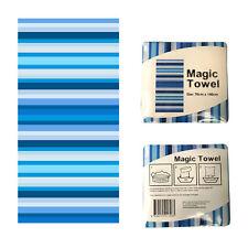 100% Cotton Magic Bath Beach Towel Blue Stripes 70 x 140cm