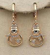 18K Gold Filled Hollow Snowman Heart Gemston Zircon Teardrop Earring Lady DS