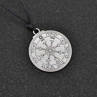 Solomon Seal Pendant Pentacle Talisman Necklace Leather Chain Charms Silver Gift