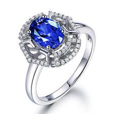 Solid 18K White Gold 100% Natural AAA+ Tanzanite Diamond  Engagemen Ring