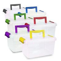 5X 3.5L 3.5 Litre Storage Box Container Clear Plastic Black Locking Lids Stack