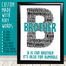 Personalised Brother Funny Bumhole Word Art Big Birthday Print Gift Birthday