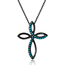 925 sterling silver black rhodium plated swirl cross pendant Syn Turquoise