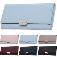 Womens Bifold Wallet Leather Long Wallets Diamond Check Capacity Clutch Handbags