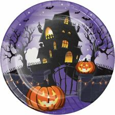 "Haunted House Pumpkin Halloween 8 Ct 9"" Dinner Plates"