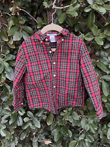 Janie And Jack Boys Button Down Shirt Plaid Red Long Sleeve Size 4T Holiday Xmas