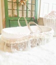 Sugar Shacks Cream Minky Dimple Fabric Luxury Moses Basket Bedding with Blanket