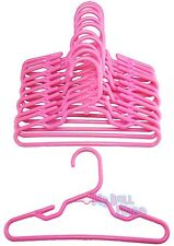 "12 Pink Hangers Plastic One Dozen fit 18"" American Girl Doll Clothes Hangers Dog"