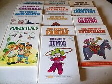 13 Book Lot Value Tales+Power Of Caring Family Courage Tunes Lincoln Cochise Mea