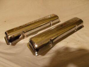 55 56 57 Chevy 265 Valve Rocker Arm Covers Chrome Vtg Original Pair Staggered
