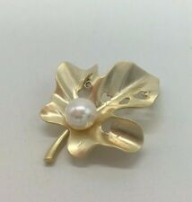 Freshwater Pearl & Crystal Gold Plated Brooch New