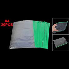 Office Green Clear Size A4 Paper Slider Zip Folders PVC Files Bags 20PCS HY