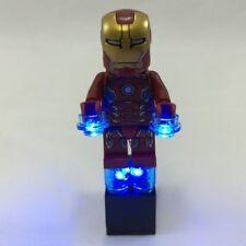 LED LEGO Iron Man Lights Blue With 2X3 Battery brick