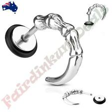 316L Surgical Steel Sliver Ion Plated Curved Claw Fake Ear Plugs Tunnel
