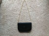 Pre-owned, Authentic Vintage Christian Dior evening bag, black patent and silk