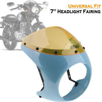 "7"" Headlight Fairing Screen Windshield Cover for Cafe Racer Motorcycle Universal"