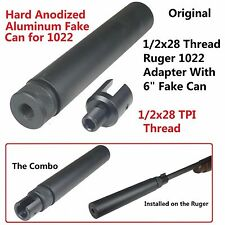 "Ruger 10/22 1022 1/2""x28 Thread Adapter w/Thread-On Fake Can Muzzle Brake"