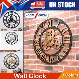 Large Roman Numeral Wall Clock Indoor Outdoor Garden Metal Round Clocks 60cm UK