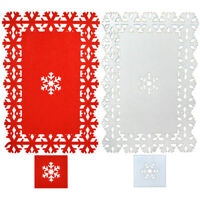 Set of 4 Christmas XMAS Placemats + 4 Coasters Felt Red White Table Decoration