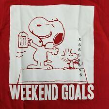 Snoopy Men's S T-Shirt Weekend Goals Licensed Peanuts Woodstock Charlie Brown