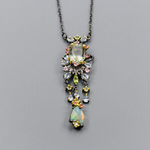 Green Amethyst Necklace 925 Sterling Silver Vintage8ct+ Length 19/N04593