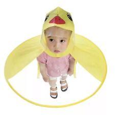 Foldable Cartoon Duck Kids Raincoat Umbrella UFO Shape Rain Hat Cape Flowery