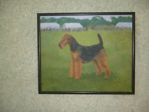 Airedale Terrier original framed oil painting