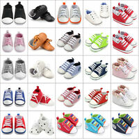 Toddler Girls Boys Lace-up Crib Shoes Newborn Prewalker Soft Sole Sneakers 0-18M