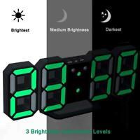 Modern Digital 3D White LED Wall Clock Alarm Clock CL 12/24 Displa Hour P3O7