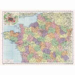 FRANCE North; inc Environs of Paris - Vintage Map 1945