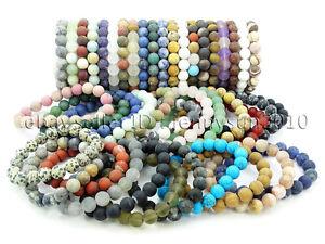 Handmade 10mm Matte Frosted Natural Gemstones Round Beads Stretchy Bracelet