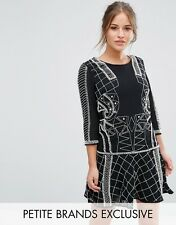 Maya Petite Peplum Hem Mini Dress With All Over Embellishment Black UK 10/EU 38