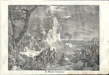 Stampa antica MONTE CALVARIO CROCEFISSIONE di CRISTO 1841 Old antique print