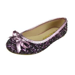 Wedding Party Girl's Glitter Sparkling Dress Shoes Slip On Pink Purple & Gold