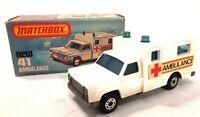 Vintage 1977 Superfast Matchbox #41 Ambulance Brand New in Original Box