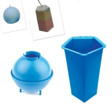 "Set x 2, Pentagon 5 Sided Pillar Candle Mould & 3"" Dia Sphere Round Mould. S7608"