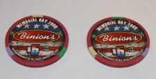Binions Las Vegas Casino Gaming Token Five Dollar Chip ($5 dollar) 2 Tokens