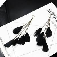 Fashion Women Colorful Feather Earrings Jewelry Long Chain Hook Dangle Charm