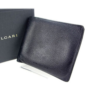 Bvlgari Wallet Purse Bifold Black Woman Authentic Used Y644