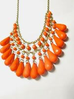 Orange Bead Dangle Gold Tone Metal Bib Necklace 21 Inches Vintage