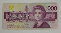 1988 Canadian $1000 Dollar Bill Canada One Thousand Dollar Bird Series in Case