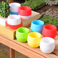 10pcs Mini Plastic Pot Succulent Plant Container Flower Planter Garden Decor