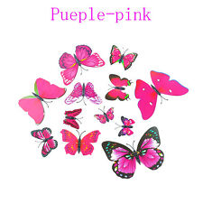 12 Pcs Party Supplies Home Butterfly Artificial Wire 3d Cake Topper Purple-pink