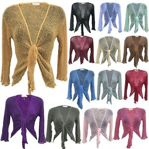 Fishnet Front Tie Knot Shrug Womens Bolero Tops Crochet Cropped Mesh Cardigan sm