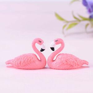 2Pcs Pink Flamingo Home Ornament Art Figure Resin Craft Gift Cake Decor SUPER