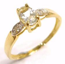 FINE 10KT YELLOW GOLD AQUAMARINE & DIAMOND RING SIZE 7   R1148